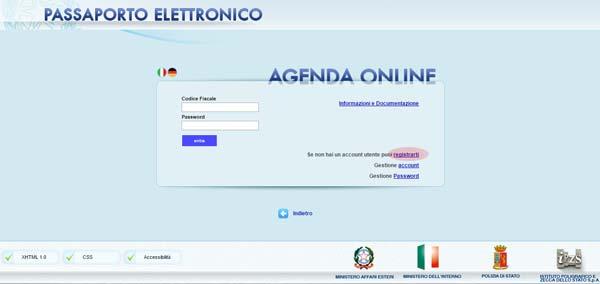 Passaporto online